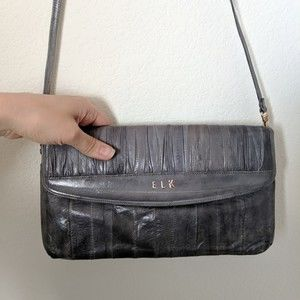 ELK Vintage Genuine Eel Skin Purse Blue Grey Bag
